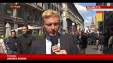 Protesta davanti a sede di Expo durante il vertice con Renzi