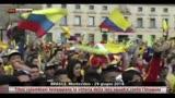 29/06/2014 - Tifosi colombiani festeggiano la vittoria conto l'Uruguay