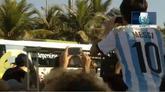 13/07/2014 - Brasile 2014, il pullman dell'Argentina verso il Maracanã