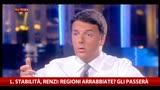 L. Stabilità, Renzi: Regioni arrabbiate? Gli passerà
