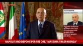 """29/10/2014 - Napolitano depone per tre ore, """"massima trasparenza"""""""
