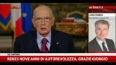 """31/12/2014 - Napolitano, Zanda: """"Discorso chiude servizio per il Paese"""""""