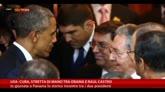 11/04/2015 - Usa-Cuba, stretta di mano tra Obama e Raul Castro