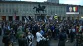 Juve, i primi festeggiamenti in piazza San Carlo