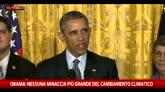 Obama: Nessuna minaccia più grande del cambiamento climatico