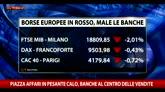 Borse: Piazza Affari in calo, banche al centro delle vendite