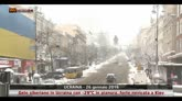 Forte nevicata a Kiev in Ucraina