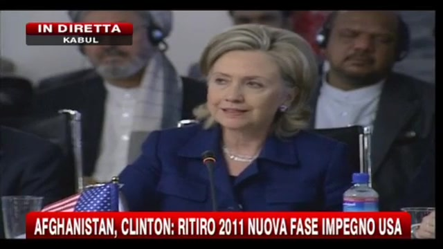 Afghanistan, Clinton: Ritiro 2011 nuova fase impegno Usa