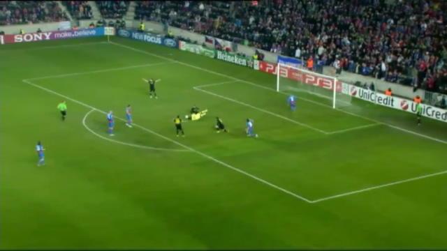 Plzen - Barcellona 0-1, gol di Messi (24')