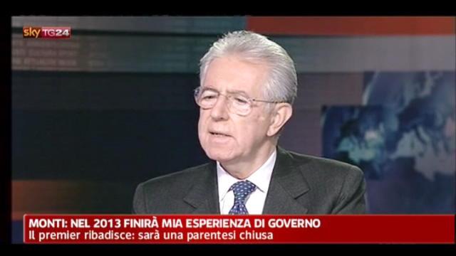 Monti: fondamentale l'appoggio di Berlusconi