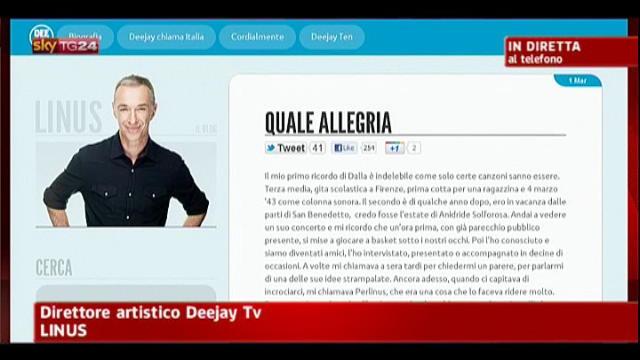 Lucio Dalla, a Sky TG24 parla Linus