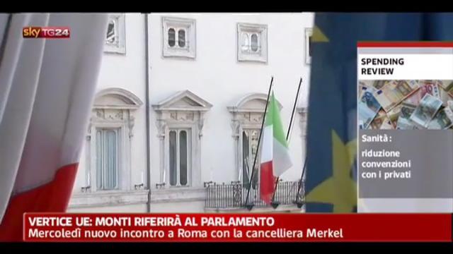 Monti mercoledì incontrerà a Roma la Merkel
