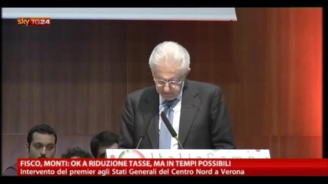 Fisco, Monti: ok a riduzione tasse, ma in tempi possibili