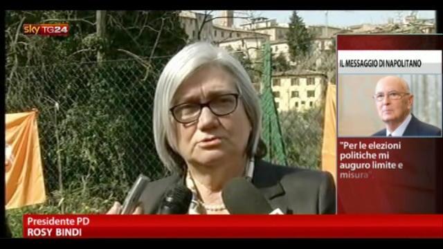 Reazioni al discorso di Napolitano: Bindi, Pd