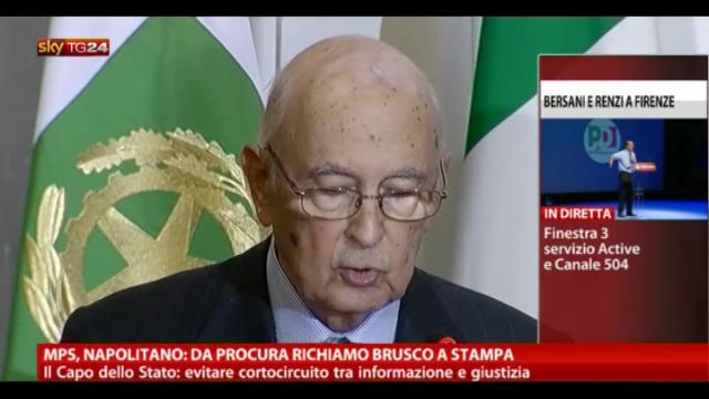 MPS, Napolitano: da procura richiamo brusco a stampa
