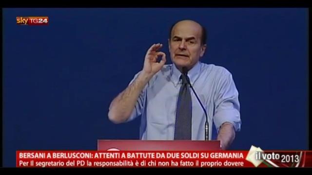 """Bersani a Berlusconi: """"Attenti a battute su Germania"""""""