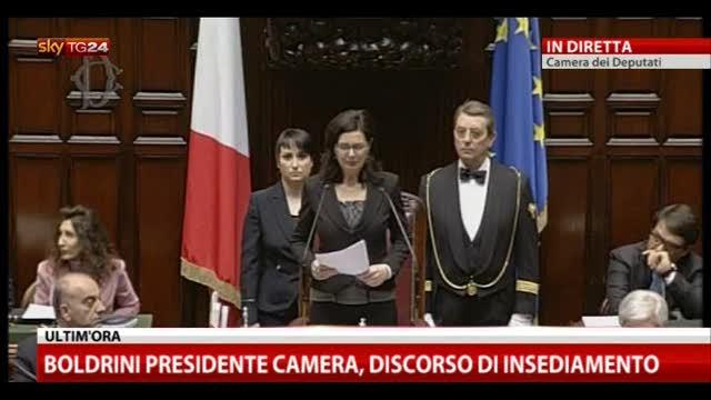 Discorso Camera Boldrini : Boldrini presidente camera il discorso di insediamento video sky