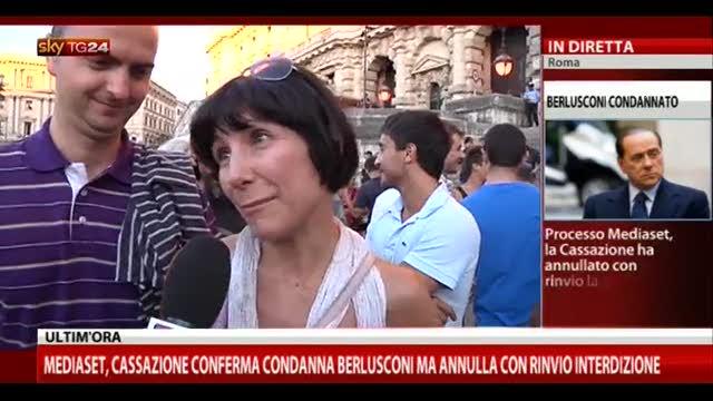 Sentenza Mediaset, le reazioni dalla piazza