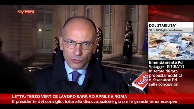 Letta, terzo vertice lavoro sarà ad Aprile a Roma