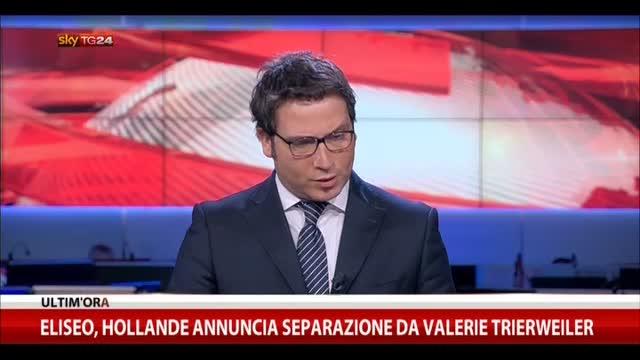 Eliseo, Hollande annuncia separazione da Valerie Trierweiler