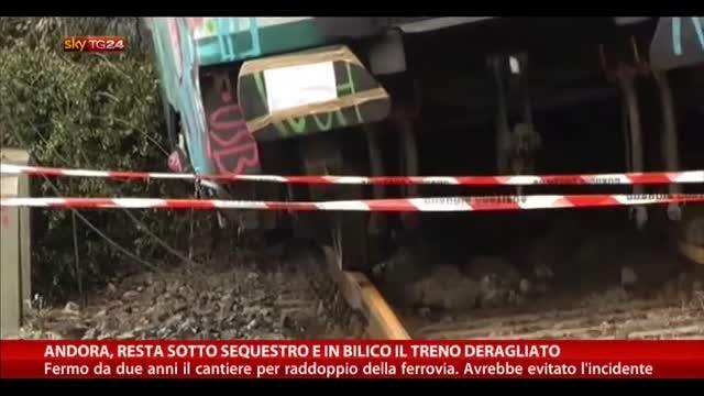 Andora, resta sotto sequestro e in bilico treno deragliato