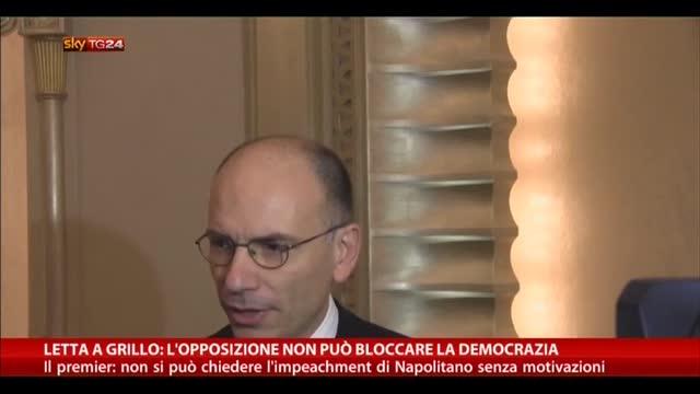 Letta a Grillo: l'opposizione non può bloccare la democrazia