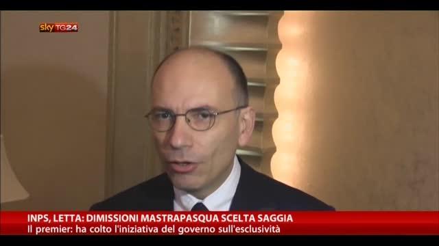 Inps, Letta: dimissioni Mastrapasqua scelta saggia