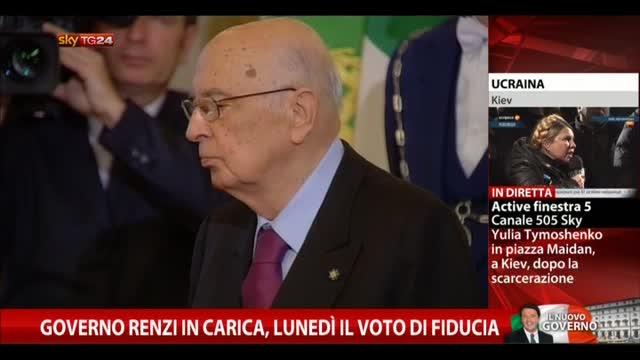 Governo Renzi in carica, lunedì il voto di fiducia