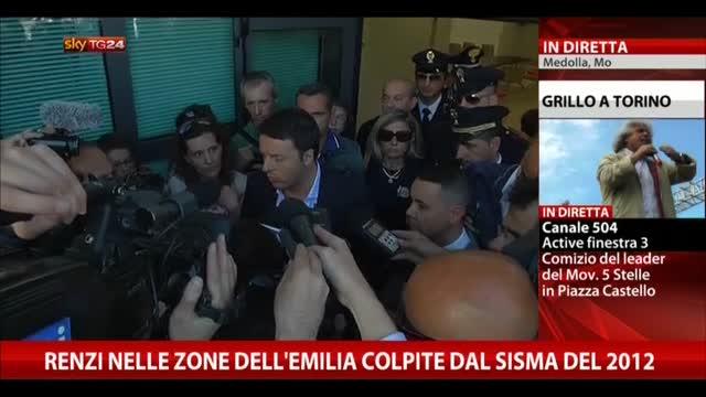 Renzi nelle zone dell'Emilia colpite dal sisma del 2012