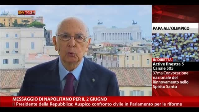Messaggio di Napolitano per il 2 giugno