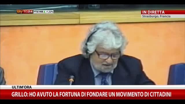 La conferenza stampa di Beppe Grillo a Strasburgo