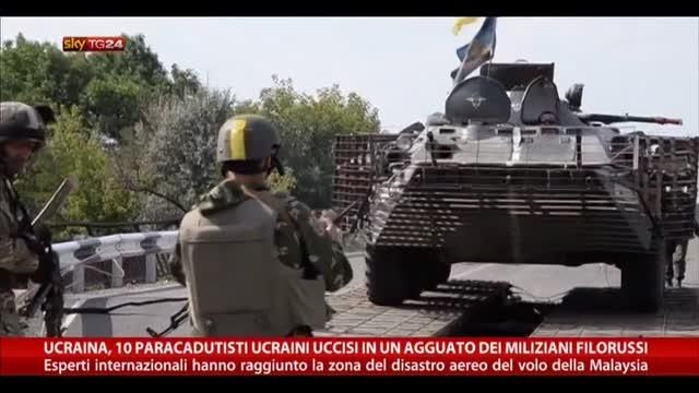 Ucraina, 10 paracadusti uccisi in un agguato dei filorussi