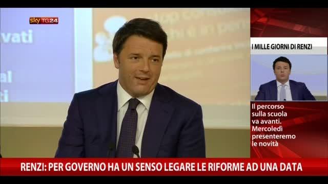 Renzi: per governo ha un senso legare le riforme ad una data