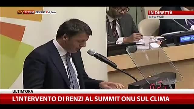 L'intervento di Renzi al summit Onu sul clima