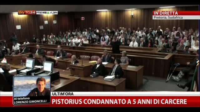 Pistorius condannato a 5 anni di carcere