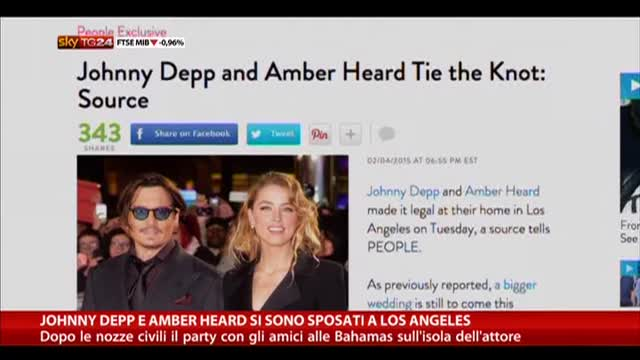 Johnny Depp e Amber Heard si sono sposati a Los Angeles
