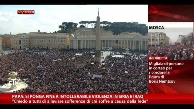 Papa: si ponga fine a intollerabile violenza in Siria e Iraq