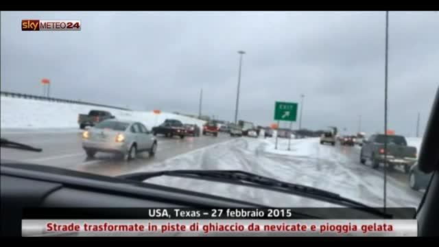 Texas, strade trasformate in piste di ghiaccio dal maltempo