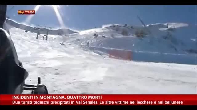Incidenti in montagna, quattro morti