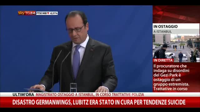 "Airbus A320, Hollande: ""800 persone sul posto"""