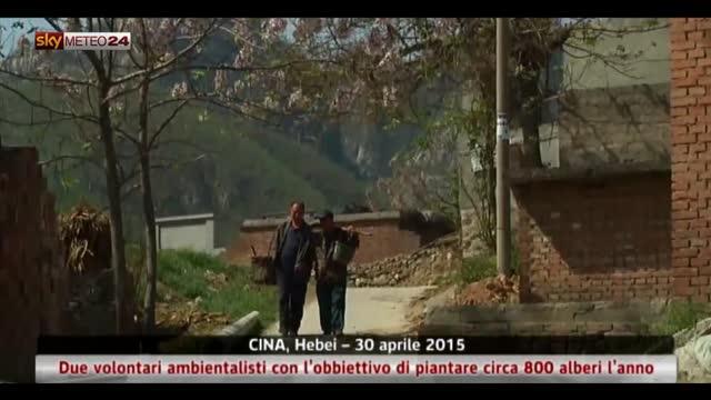 Cina, 2 ambientalisti volontari piantano 800 alberi l'anno