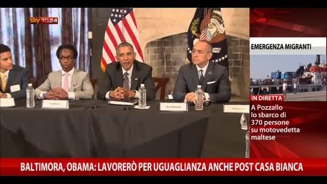 Baltimora, Obama: lavorerò per uguaglianza post Casa Bianca