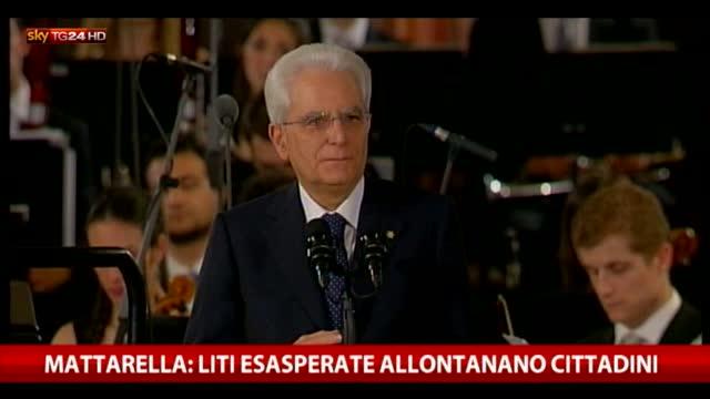 """Mattarella: """"Liti esasperate allontanano i cittadini"""""""