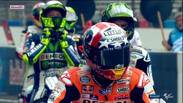GP Indianapolis, Marquez trionfa davanti a Lorenzo e Rossi