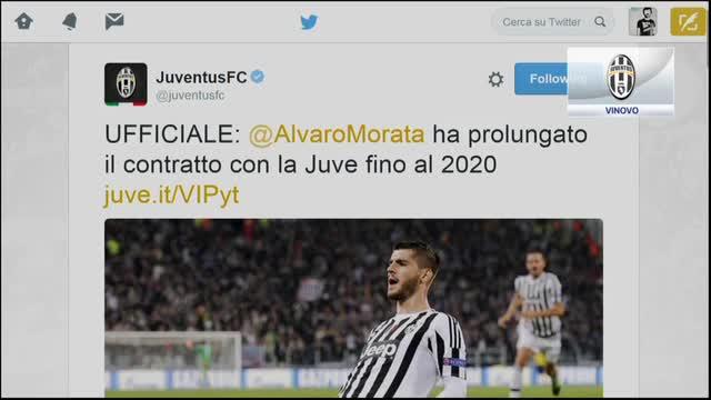 Juve, è ufficiale: Morata rinnova fino al 2020