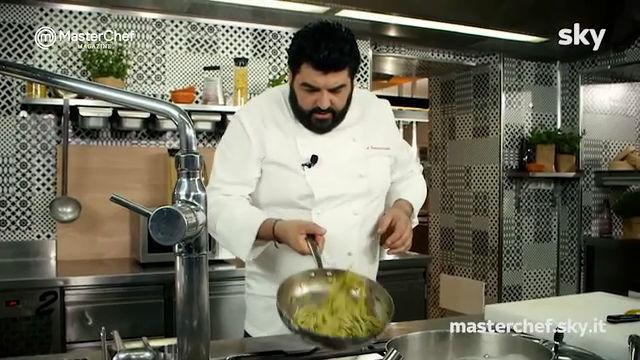 MasterChef 7, Cannavacciuolo: spaghetti gamberi e zucchine