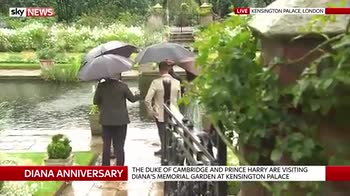 William and Harry tour Diana's garden