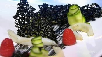 Seppia, corallo al suo nero e gelatina di the verde e lime