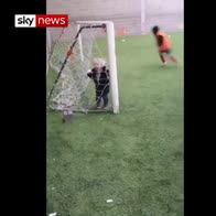 Father's video: 'Angels playing football'
