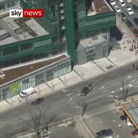 Aerial view of truck attack